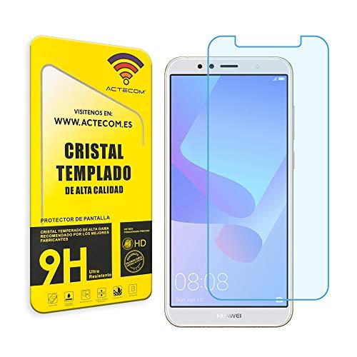 actecom® Protector DE Pantalla para Huawei Y6 2018 Cristal Vidrio Templado