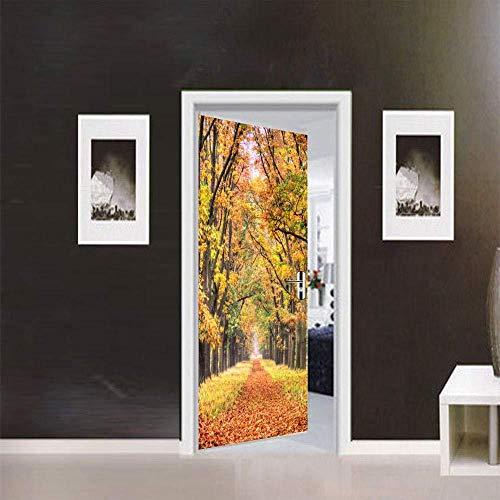 WIGGONJDW Etiqueta de la Puerta,Otoño de caducifolios Adhesivos Puerta Dormitorio habitación Infantil decoración autoadhesiva Impermeable extraíble de Pared Pegatinas Papel Tapiz