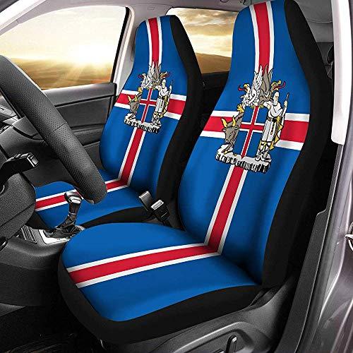 Drew Tours Isländer Wappen Island Flagge Autositzbezüge Set von 2 Größe Universal Fit