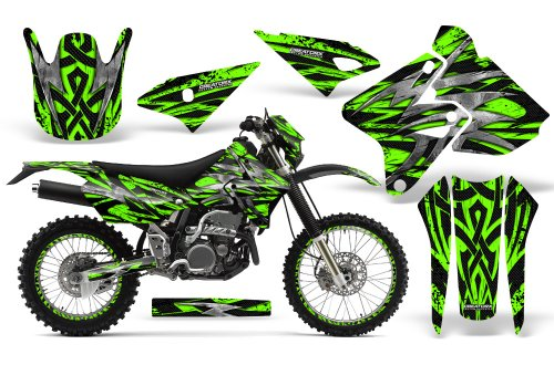 CreatorX Graphics Kit Decals Stickers for Suzuki Drz400 Drz400S Z400 E Bolt Thrower Green Incl. Number Plate & Rim Graphics