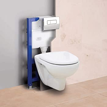 Concealed Toilet Set - Frame, Cistern and Dual Flush Plate Wall Hung Pan Frame: