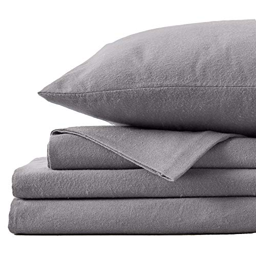 Great Bay Home Extra Soft 100% Turkish Cotton Flannel Sheet Set. Warm, Cozy, Heavyweight, Luxury Winter Deep Pocket Bed Sheets in Solid Colors. Nordic Collection (Queen, Frost Grey)