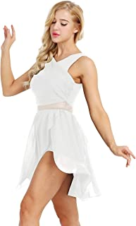 ACSUSS Lyrical Women`s Dance Dress Illusion V-Neck Chiffon Asymmetric Skirted Leotard Modern Contemporary Dresses
