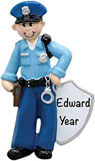 Police Man Personalized Ornament - (Unique Christmas Tree Ornament - Classic Decor for A Holiday Party - Custom Decorations for Family Kids Baby Military Sports Or Pets)