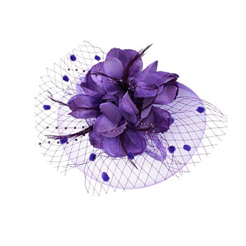 MagiDeal Fascinator Haar Clip Haar Accessoire Tea Party Kopfbedeckung - Lila