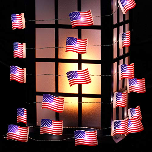 Impress Life Independence Day Patriotic Décor, USA American Flag String Lights for 4th of July, 10ft 30 LEDs Red White Blue Battery&USB Cord Powered with Remote for Memorial Day Presidents Day