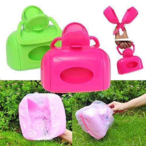 Bargain World Portable Pet Dog Cat Waste Bag Case Pooper Scooper Poop Scoop Pickup Clip Easy Clean Tool