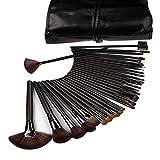 BlueBeach® 32 PCS Negro maquillaje del kit del sistema de cepillo de Kabuki mezcla Base de Maquillaje Delineador de ojos colorete cosmético