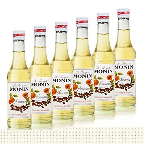 6x Monin Amaretto Sirup, 250 ml Flasche