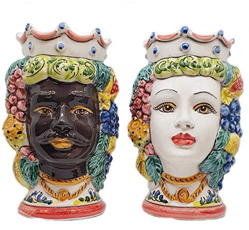 sicilia bedda - Coppia Teste di Moro SICILIANE in Ceramica di CALTAGIRONE - Realizzate a Mano - H Centimetri 18 - Elegante Complemento d'Arredo