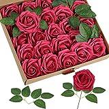 Homcomodar Fiori Artificiali Rosso Scuro Rosa 30pcs Reale Cercando Rose Finte con Gambo per Matrimonio Fai da Te Mazzi Centrotavola Disposizione Partito Casa Arredamento