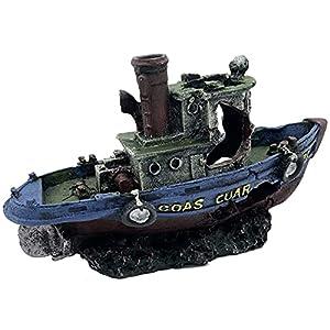 Coast Guard Boat Shipwreck Artificial Polyresin Aquarium Ornament Aquatic Model Decoration Fish Tank Marine Decor Ornaments