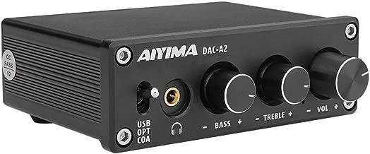 AIYIMA DC5V HiFi 2.0 Digital Audio Decoder USB DAC Headphone Amplifier 24Bit 96KHz Input USB/Coaxial/Optical Output RCA Amp(Black-DAC)