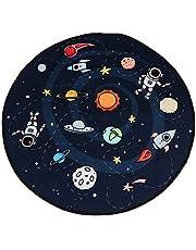 Garneck Area Rug Space Galaxy Planet Stars Printed Carpet Living Room Kids Nursery Room Bedroom Round Floor Mat Table Foot Pad