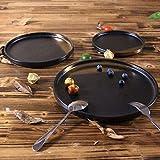 Geschirr Teller Teller und Schalen Einfach zu platzieren 10 Esstische in nordischen Stil Keramik Essteller Western Teller Tablett Geschirr-schwarz Gold_25cm Mit