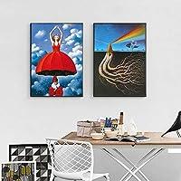 シュルレアリスムウォールアートキャンバスポスターとプリント抽象絵画装飾写真家の装飾-50X70cm20x28インチフレームなし