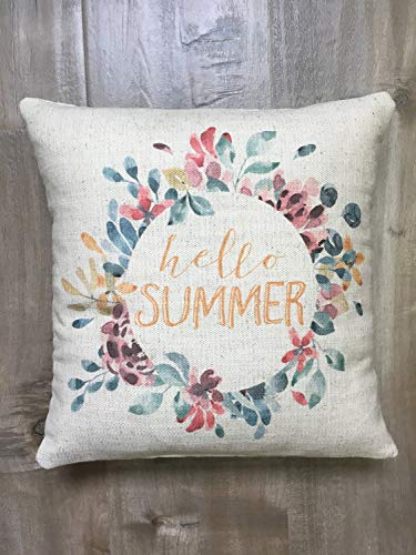 Toll2452 Hello Summer - Funda de cojín con corona floral