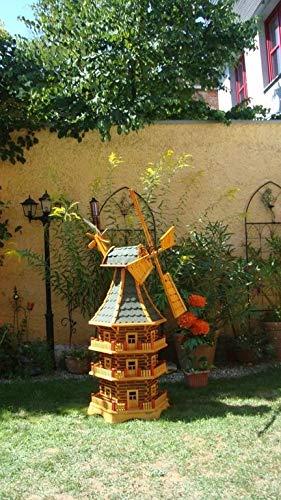 BTV Riesige Windmühle Premium Solar (Zubehör), für Pferde-Weide, Garten Terrasse, WETTERFEST + ROBUST mit Bitumen, mit Windrad, Seitenruder, Windfahne, DREISTÖCKIG, WMB-RAD200gr-OS,Windmühlen garte
