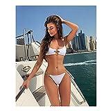 MASHUANG Bikini Sexy con Anillos de Oro Decoraciones, Color Liso 2 Pieza Traje de baño Traje de baño de Moda for Mujeres niñas 2021 otoño (Color : White, tamaño : Large(L))
