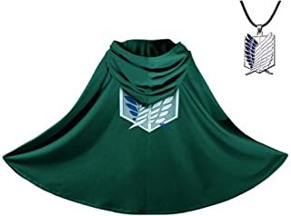 Aoibox Attack On Titan Cloak - Anime Cosplay Costume Shingeki No Kyojin Cape with Necklace Green