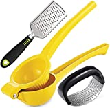 Lemon Squeezer, Garlic Press Rocker, Hand Grater, 3 Pieces Kitchen Tool Set, Manual Citrus Press...