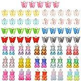 AKlamater 75 Stücke Acryl Schmetterling Form Charms und Bär Süßigkeit Anhänger Set Bunt Anhänger für Ohrringe Halskette DIY Schmuck Herstellung