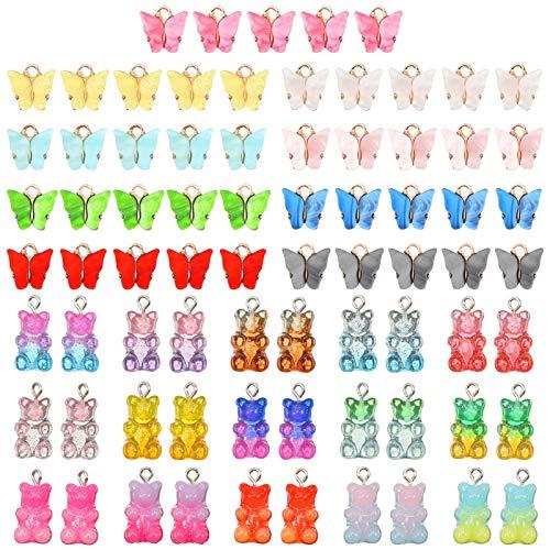 AKlamater Juego de 75 colgantes acrílicos con forma de mariposa y oso de peluche, multicolor, para pendientes, collares, manualidades, fabricación de joyas