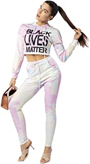 ONIEZZFOIR Women's Tie Dye Rainbow Long Sleeve Casual Tracksuits Hooded Pullover Digital printing Crop Tops Long Pants Set