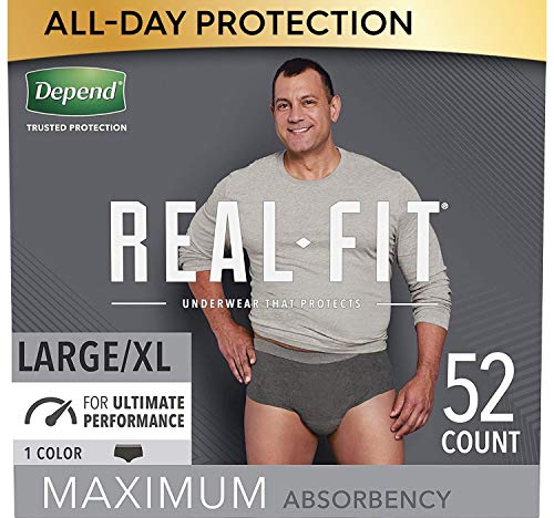 Depend Real Fit Incontinence Underwear for Men, Maximum Absorbency, Disposable, Large/Extra-Large, Black, 52 Count (Packaging May Vary)