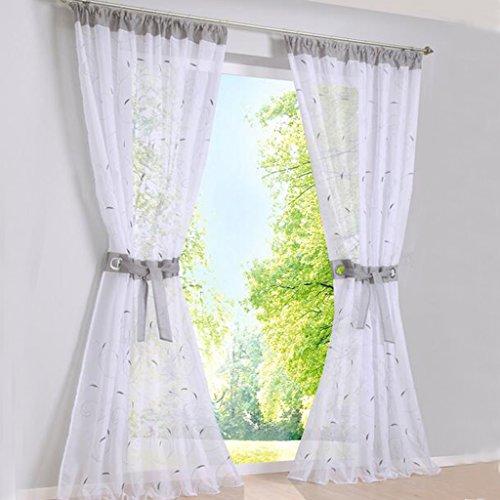 Hauteur 145cm, Violet SIMPVALE 1 Piece Rideaux Voilages Broderie Floral pour Chambre Largeur 140cm