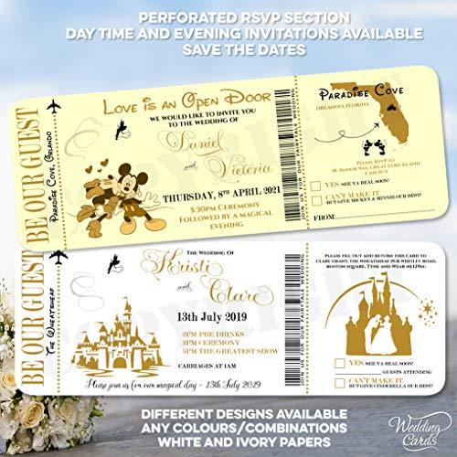 Personnalisé Save the Date Cendrillon Disney Mickey Minnie Mariage Anniversaire billet d'invitation fête Invitez Mickey Minnie Ariel Peter Pan Lion King Princesse Prince