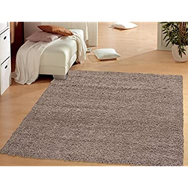 Sweet Home Stores Cozy Shag Collection Solid Shag Rug Contemporary Living & Bedroom Soft Shaggy Area Rug, 94  L x 118  W, Beige