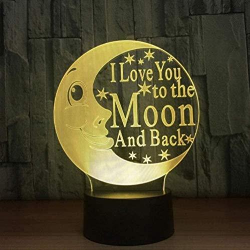 Baby Spielzeug 3D I love you to the moon and back moon night Light LED dormitorio noche noche luz decoración regalos