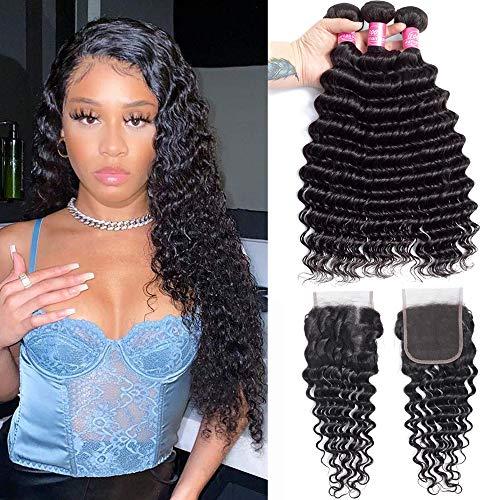 Deep Wave Bundles with Closure Brazilian 10A Human Hair Bundles(16 18 20+14 Closure)Deep Weave Curly Human Hair 3 Bundles with 4x4 Lace Closure 100% Unprocessed Virgin Human Hair Bundles Natural Color