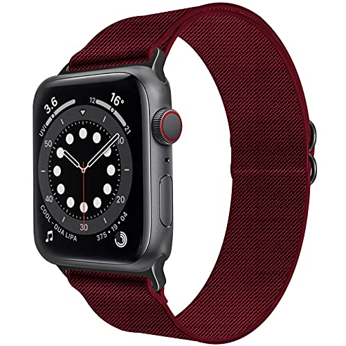 Wekin Solo Loop Band Compatible with Apple Watch strap 38mm 40mm 42mm 44mm, Adjustable Elastics Nylon Replacement Sport Stretchy Braided Wristband for iWatch Series SE/6/5/4/3/2/1