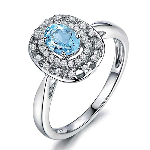 AueDsa Womens Ring 925,Engagement Rings and Band for Women Oval 4X6MM Blue White Topaz Ring Size I 1/2