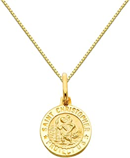 14k Yellow Gold Religious Saint Christopher Medal Pendant 0.65mm Box Link Chain Necklace
