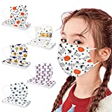 50Pack Kids Disposable Face Mask - 3-Ply Halloween Breathable Back to School Face Shield for Boy Girl Individually Wrapped (A)
