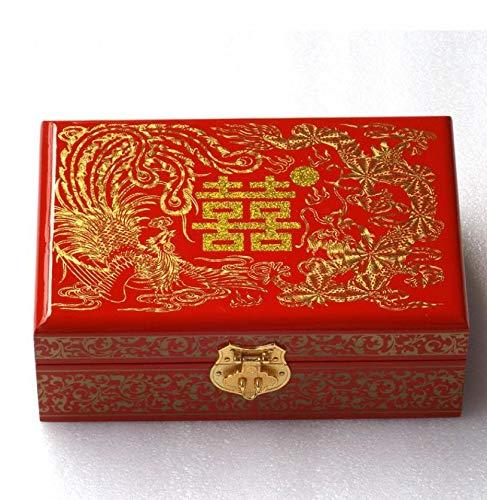 XIAOMING China Ligero Empujón Laca Caja De Joyería Pequeño Ataúd De Madera China Antigüedad China Retro del Viento De Alta Gama De Joyería Q