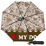 Amo a mi Perro Manual Paraguas Plegable Plegable de Viaje Tr
