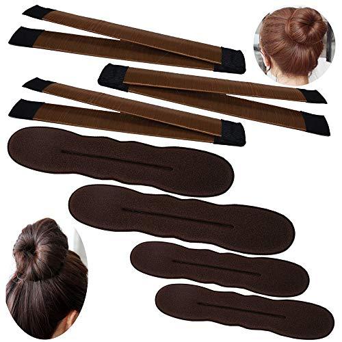 YuCool - Juego de 3 moldes para hacer moños de pelo fino y moño de moño para hacer moños, herramienta fácil, con 4 esponjas de espuma para hacer moños, accesorios para el pelo, color marrón