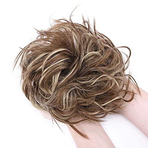 Moda Peinado Updo despeinado Scrunies de pelo con moño desordenado Extensión de cabello de cola de caballo para mujer Castaño claro & rubio ceniza
