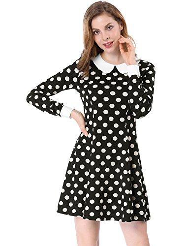 Allegra K Femmes Col Contrasté Au-Dessus du Genou Une Robe De Ligne Noir S (EU 36)