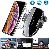 車載Qi ワイヤレス充電器 車載 ホルダー-10W/7.5W急速ワイヤレス充電器車載スマホホルダー 360度回転 粘着式&吹き出し口2種類取り付 iPhone X/XR/XS/XSMAX/8/8 Plus/Galaxy S9/S8/S8 Plus/S7/S7 Edge/S6/S6 Edge/Note 8/Note 5/Nexus 5/6等に適用ワイヤレス充電機種に対応