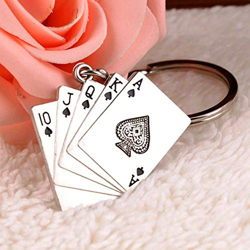 HGFJG Llavero Fashion Poker Naipe Texas Hold'em Llavero Llavero De Hombre Llavero Amantes