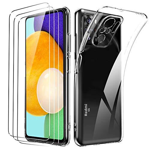 Oududianzi Funda para Xiaomi Redmi Note 10 4G/Note 10S +[3X Protectores de Pantalla in Cristal Templado], Carcasa Blando Delgado Claro Funda de Silicona Gel TPU - Transparente