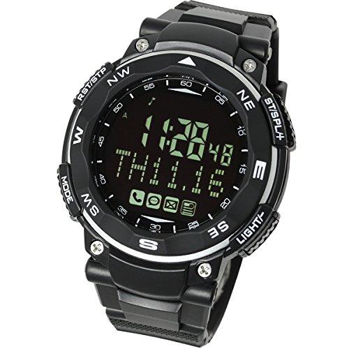 [LAD WEATHER]スマートウォッチ SNS 着信 メール 通知機能 睡眠管理 デジタル腕時計 lad037 (ブラック(反転液晶))