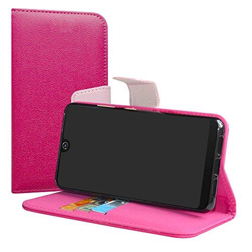 LiuShan Wiko View 2 Pro Hülle, Brieftasche Handyhülle Schutzhülle PU Leder mit Kartenfächer & Standfunktion für Wiko View 2 Pro (6 Zoll) Smartphone (mit 4in1 Geschenk verpackt),Pink