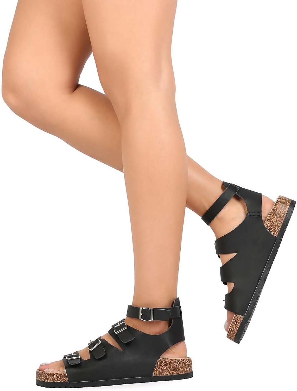 kvinnor lädertte lädertte lädertte Open Toe Buckle Strappy Footbad Sandal EB63 - svart  bästa kvalitet