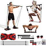 Portable Home Gym with Heavy Resistance Bands bar Set, Ab Roller Wheel Pulleys and More Full-Body Workout Equipment for Home Gym Equipment Build Muscle and Burn Fat Men Women